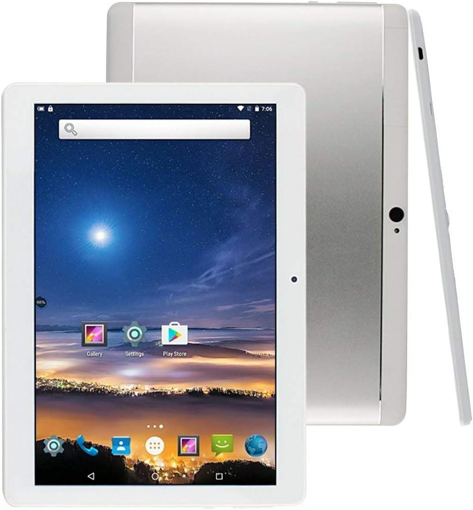 Tableta 10 Pulgadas Android 8.1 Octa Core 4GB RAM 64GB ROM Tablet PC WiFi incorporada Bluetooth y cámara GPS Dos Ranuras para Tarjetas SIM Desbloqueadas Llamada telefónica 3G Phablet (Metal Plata)
