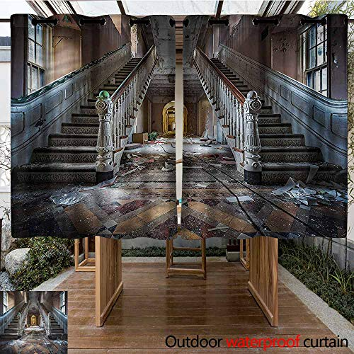 Sunnyhome Custom Outdoor Curtain Rustic Abandoned Opera House Darkening Thermal Insulated Blackout W 72