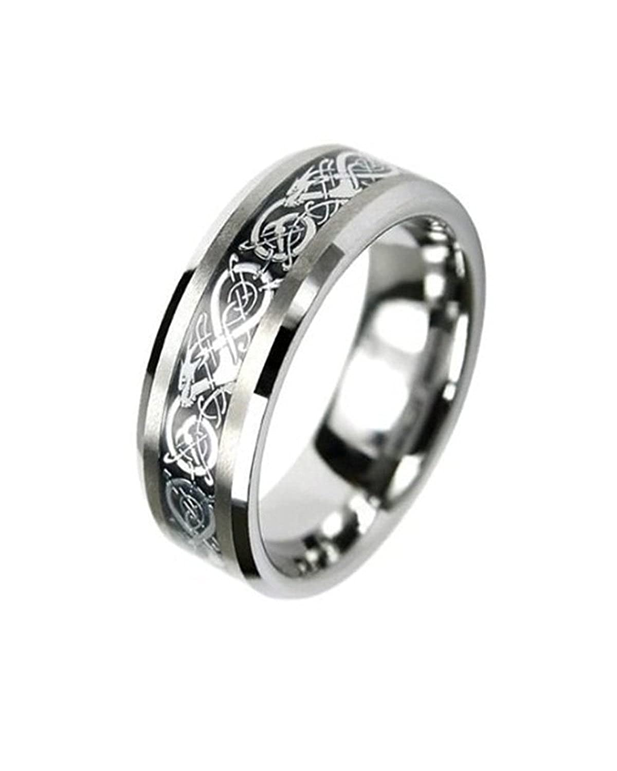 iJewelry2 Tungsten Carbide Flat Comfort Fit Men Celtic Dragon Black Inlay 8mm Wedding Ring Band