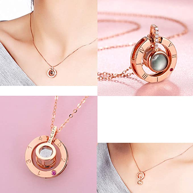 ROSE GOLD 100 LANGUAGES PROJECTION I LOVE YOU NECKLACE!