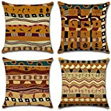 Joyi 4 Pack Ancient Africa National Style Cotton Linen Throw Pillow Case Car Cushion Cover 18''x18''