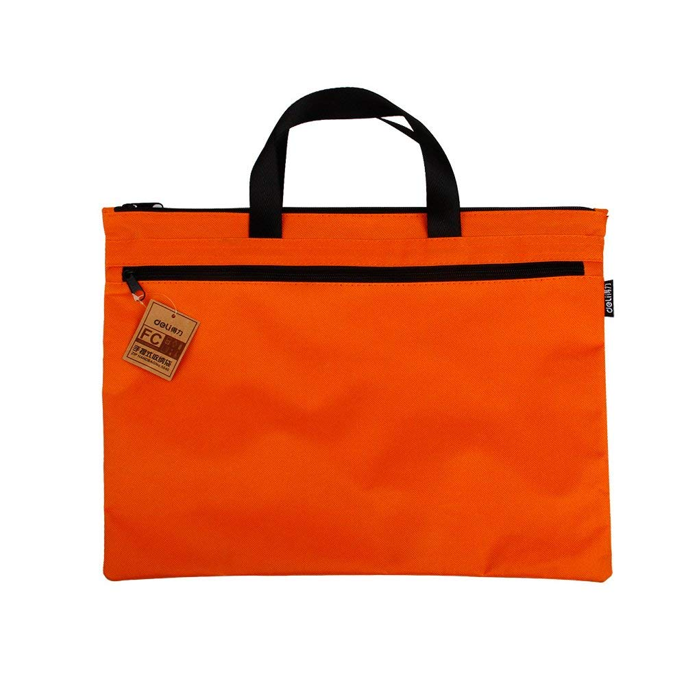 Tcplyn Premium Quality Canvas Document File Hexagon Pattern A4 Zipper Closure Bag Tote Briefcase Orange