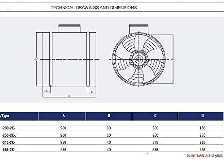 200mm Ventilador Industrial Tubo Canal Extractor Ventilación Ventiladores ventiladore industriales Axial axiales Helicoidal Helicoidales extractores extractore extractor: Amazon.es: Bricolaje y herramientas