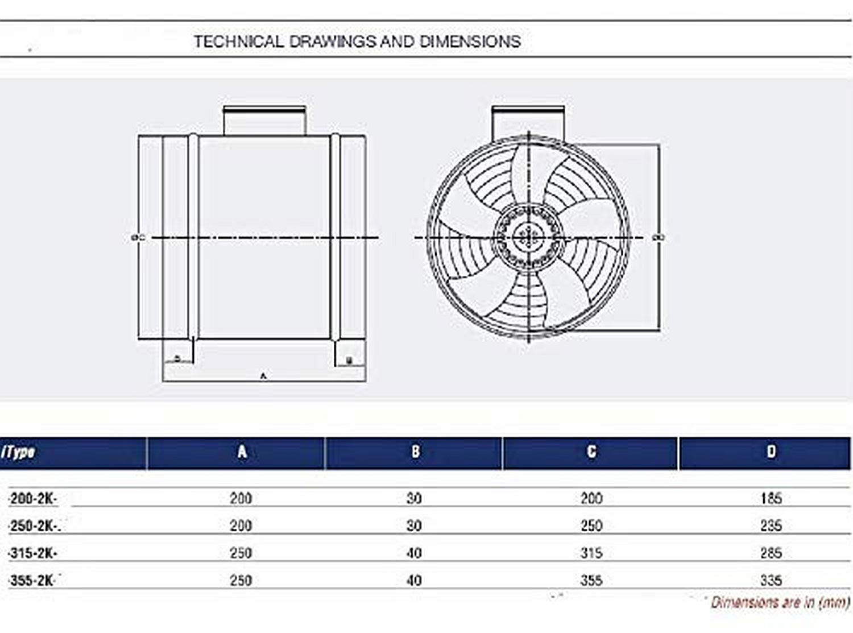 Kanall/üfter Uzman-Versand YB-200 Rohrventilator mit 500 Watt Drehzahlregler Kanalventilator Rohrl/üfter Rohrgebl/äse Ventilator Axialventilator Rohr Kanal Metall Gebl/äse L/üfter