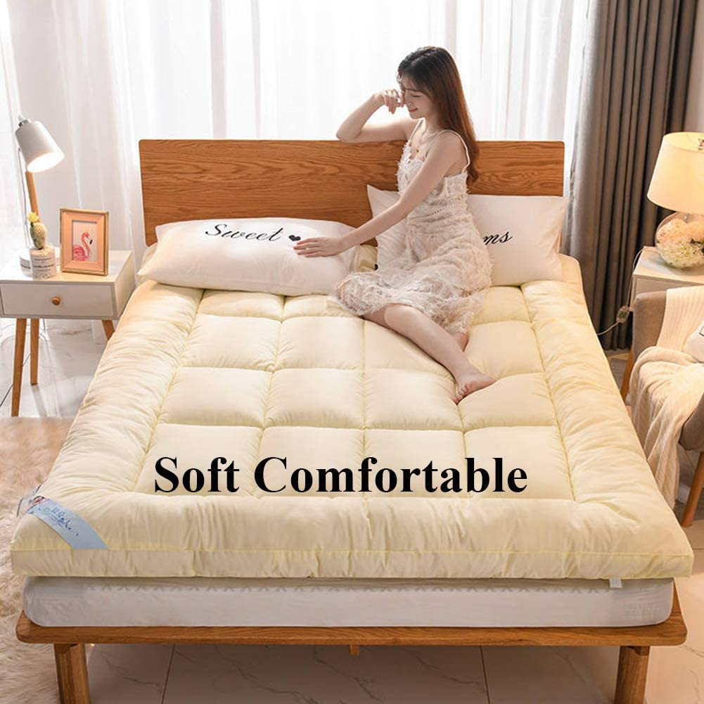 Breathable Japanese Floor Futon Mattress Pad,Foldable Tatami Floor Mat Quilted Soft Sleeping Pad Mattress-Beige Queen XUELIAIKEE Thick Tatami Mattress Topper