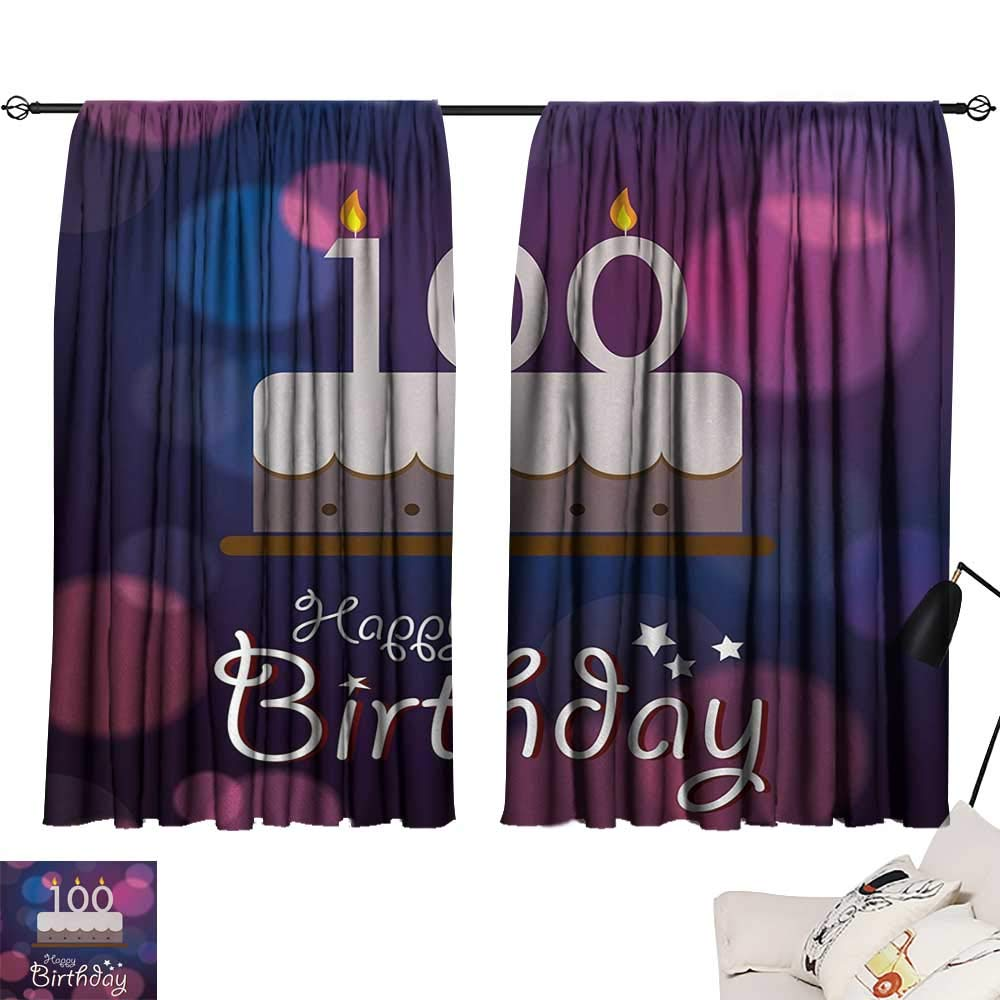 Jinguizi 100th Birthday Curtain Kitchen Window Cartoon Print Cake and Candles on Abstract Backdrop Image Artwork Print Image Darkening Curtains Purple and Pink W55 x L39