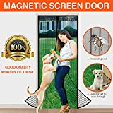 silent door handle - Looch Magnetic Screen Door with Heavy Duty Mesh Curtain and Full Frame Velcro Fits Door Size up to 36-83 Max- Black