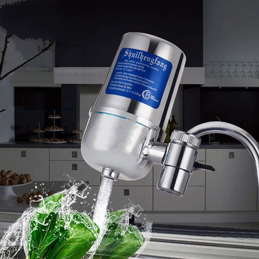 Adikoo ABS Shell,Faucet Mount Water Filter,Water Filtration System Purifier for Standard Faucets,Filter Reach 0.1μm,8L/Min,8-Layer Filtrations