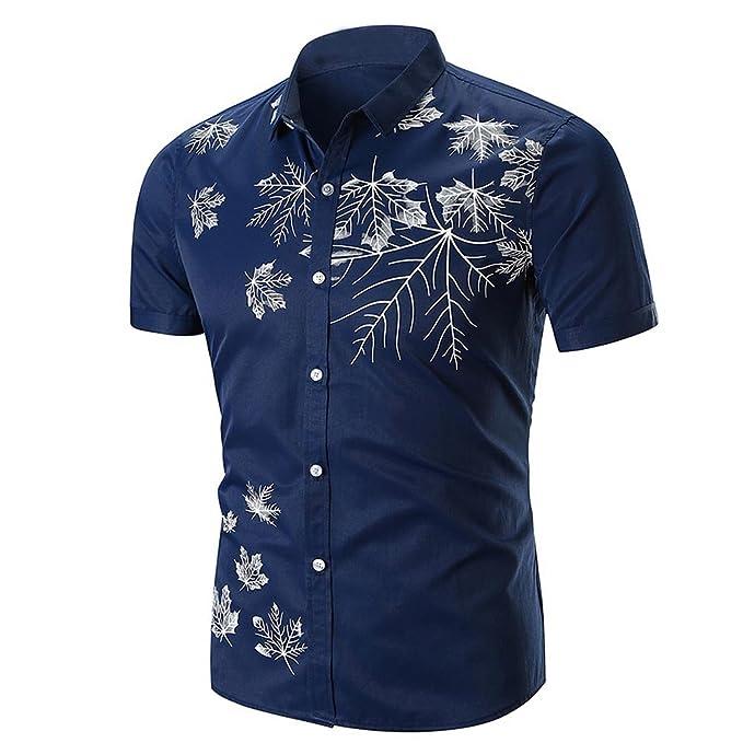 5bd47dea1f6 Camisas Estampadas Hombre Lanskirt Blusa Camisa de Manga Corta de Manga  Corta con Estampado de Hoja del áRbol Blusas de Hojas de Verano Top Tops  para Hombre ...
