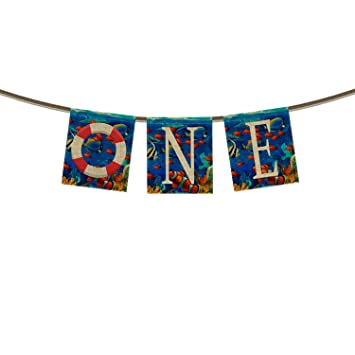 One Banner Bunting 1st First Birthday BannerBlue Ocean Tropical Fish Coral Undersea World Swim