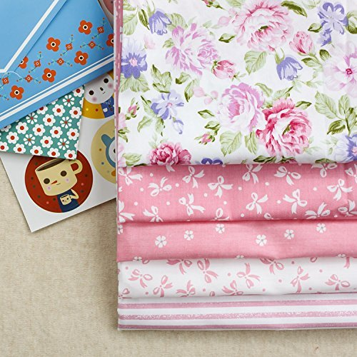 Assorted Pink Series Twill Cotton Handmade DIY Fabric Baby Cotton Sewing Material Cloth Medium 5 Designs Color Pink Size 40x50cm
