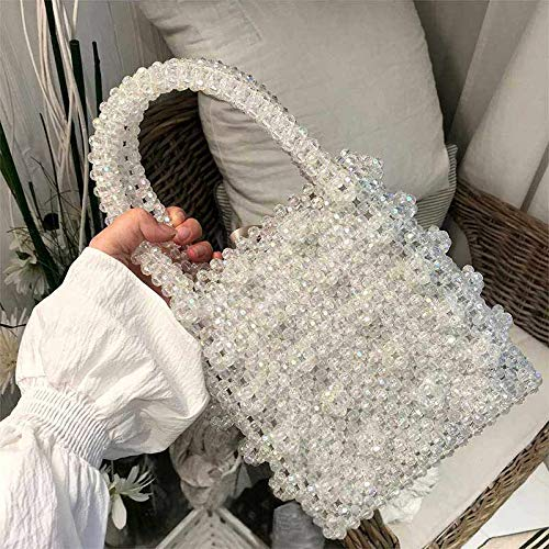 Handle Handbag Pearl Bag White Bags VT Female Vintage Beaded Handmade Top BigHome Purse Evening Bag 1xw7U