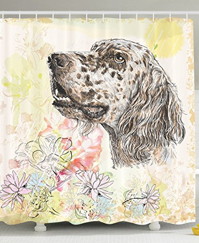 [Dog Shower Curtain Cute English Setter Hand Drawn Furry Puppy Small Pet Cartoon Pattern Chrysanthemum Floral Background Nature Animal Lover Decor Bathroom Accessories Ivory Yellow Coral Cream Brown] (Furry Puppy)