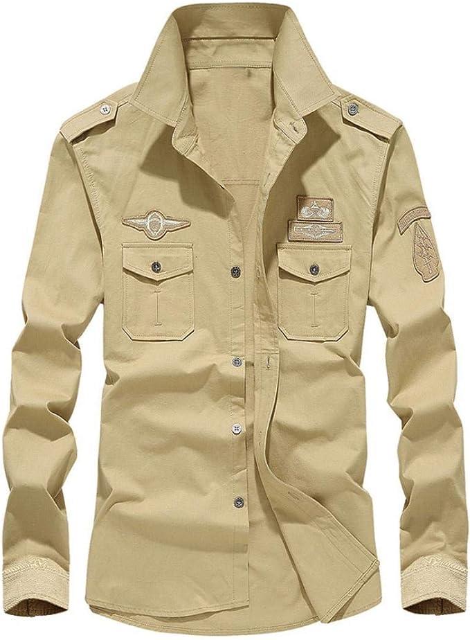 Dragon868 otoño Invierno Casual Militar Cargo botón de Manga Larga Camisas de Vestir Hombres 2020 Barato