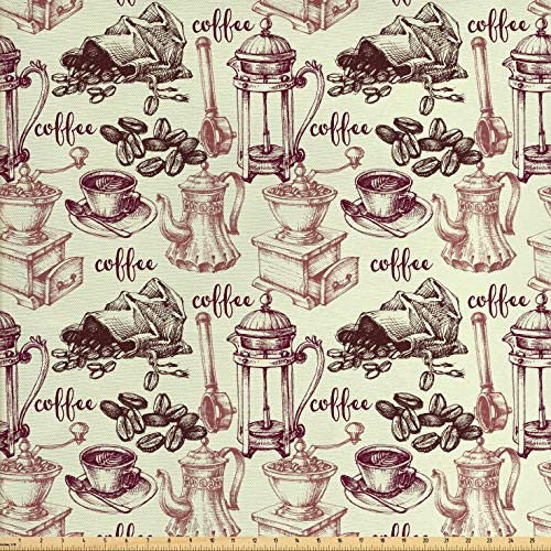 Lunarable Tea Party Fabric by The Yard, Coffee Beans with Old Espresso Machine in Sketch Hand Drawn Pattern Image, Decorative Fabric for Upholstery and Home Accents, 2 Yards, Ivory Dried Rose
