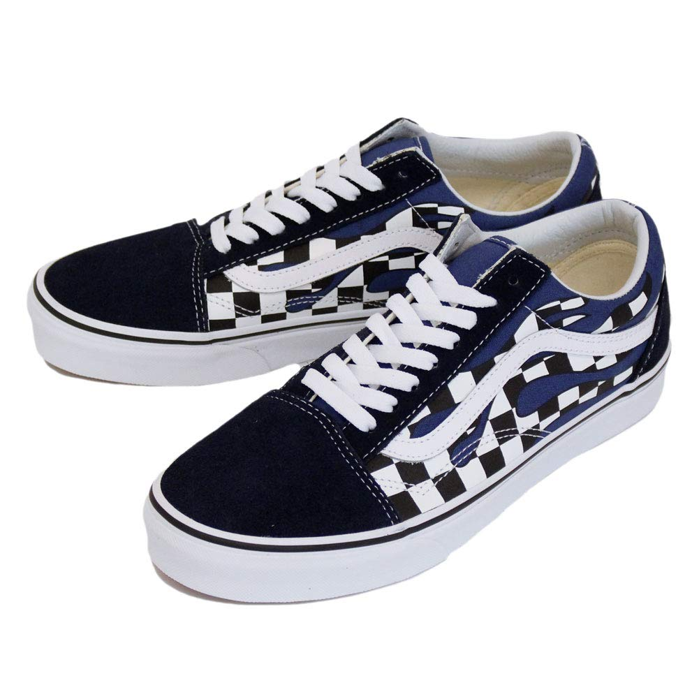 Details about Vans Old Skool Checker Flame Navy Blue White Skateboarding  Shoes d844ba20d