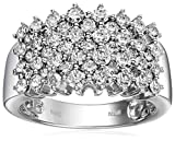 14k White Gold Pyramid Diamond Ring (2 cttw, I-J Color, I2-I3 Clarity), Size 7