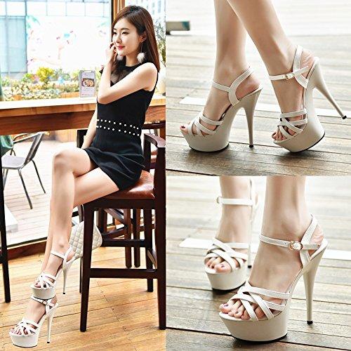 Xing Lin Sandalias De Mujer Noche 14Cm/15 Centímetros De Zapatos De Mujer Y Sandalias Con Actuaciones Ultra-Fina De Los Zapatos Zapatos White