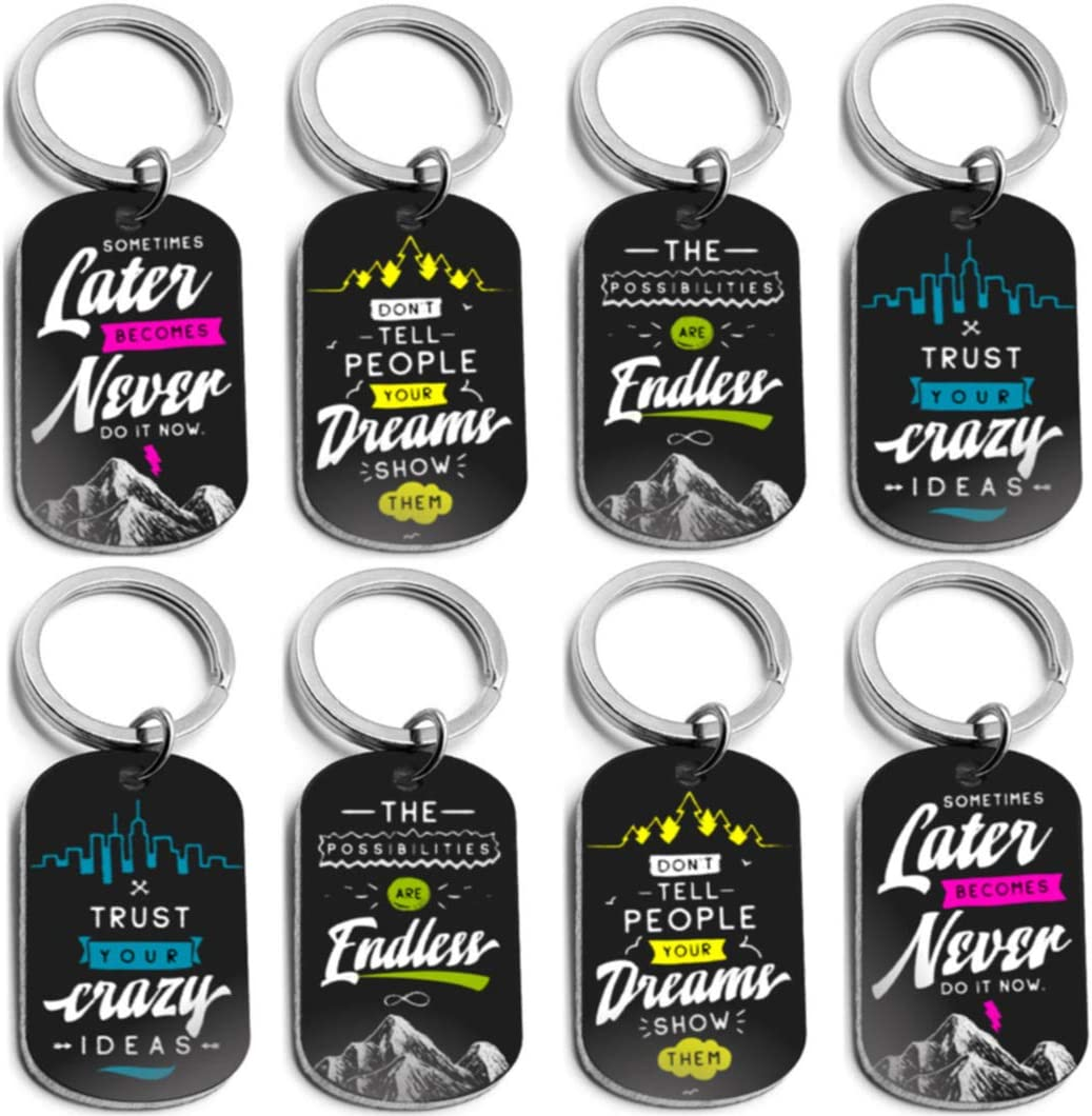 (12-Pack) Inspirational Keychains with Motivational Sayings - Wholesale Bulk Keychains for Home, Gym and Office - Small Bulk Gifts for Men and Women, Friends and Coworkers, Employees and Staff