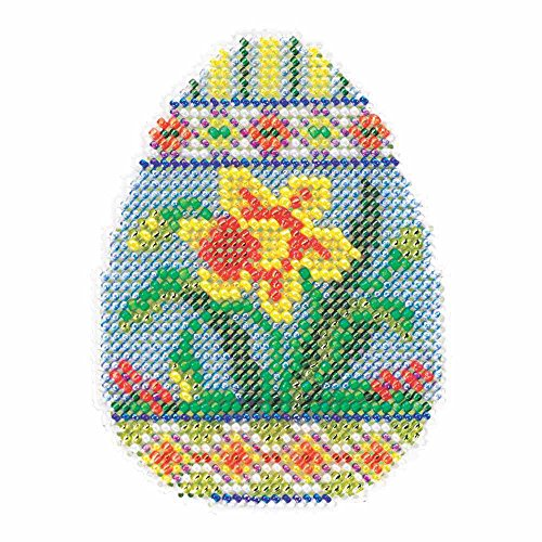 Daffodil Egg Beaded Counted Cross Stitch Kit Mill Hill 2015 Spring Bouquet - Stitch Mill Kit Cross