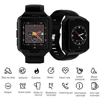 JASZHAO Reloj Deportivo, Reloj Inteligente 4G Android 6,0 MTK6737 1G + 8G SmartWatch IP67 Impermeable 850mAh batería Larga Espera al Aire Libre Robusto ...