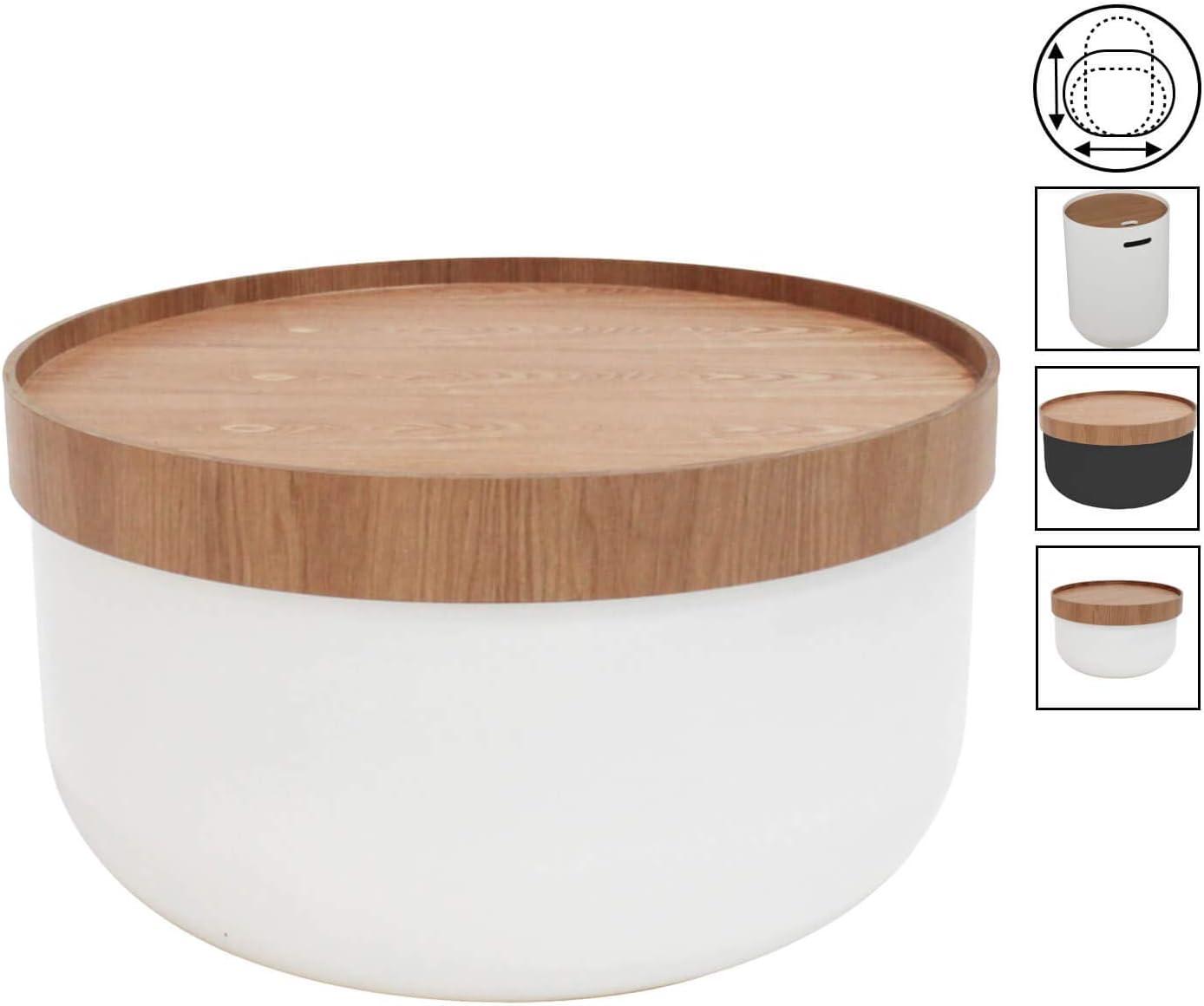 H 29cm P 50cm Petite Table Basse de Salon Moderne ou Table dappoint mokebo/® Table Basse La Gardienne Ronde Bois Blanc /& fr/êne 01
