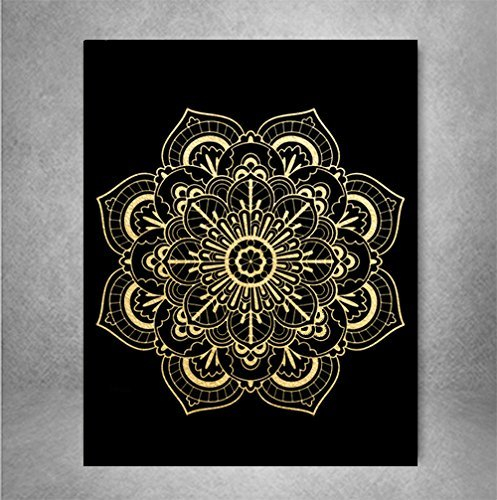 Amazoncom Mandala Gold Foil On Black Art Print Medallion Mandala