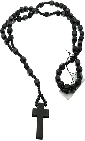 Black Wood Rosary Bead Beads Necklace With Crosscrucifix