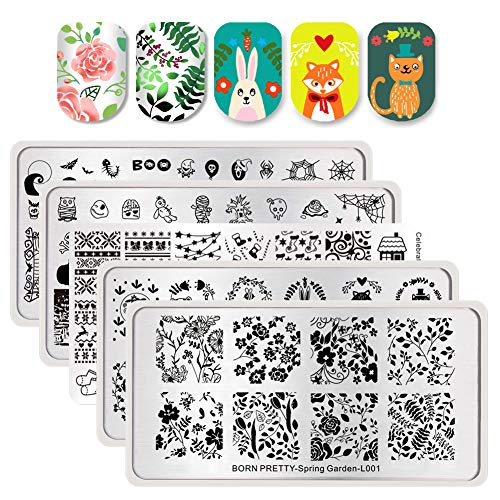 (BORN PRETTY Nail Art Stamp Templates Halloween Christmas Flower Spring Garden Stamping Image 5Pcs Rectangle Stamp Plates)