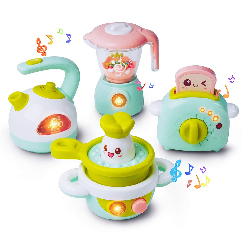 Gizmovine Play Kitchen Accessories, 4PCs Mini Simulation Musical Kitchen Toys for Kids Cooking Set Pretend Play Home Kitchen Appliances for Girls Kids Toddler by Gizmovine