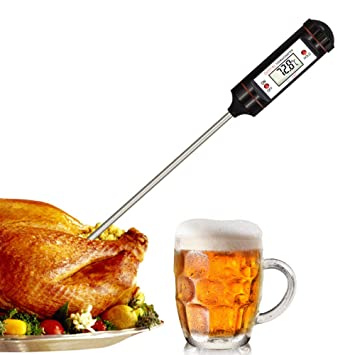 CHEFLY - Termómetro digital de lectura instantánea para cocina, alimentos, pollo, turca, barbacoa, aceite de cocina, dulces, S1804: Amazon.es: Hogar