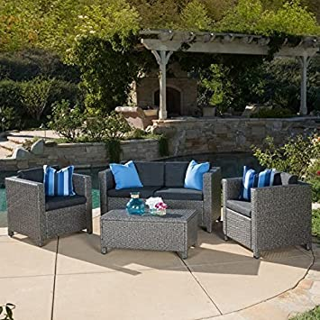Home Outdoor Puerta 4 Piece Furniture Grey Wicker Steel And Wicker  Construction Grey Black Sofa Set