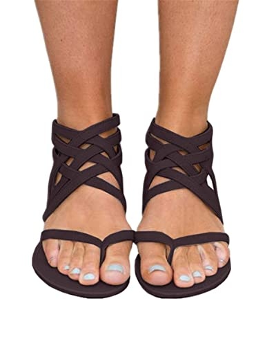 f8dab3d296a6f Fashare Womens Strappy Thongs Gladiator Flip Flops Sandals Buckle Ankle  Strap Flat Beach Shoes