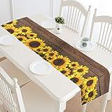 InterestPrint Sunflower Wooden Table Runner Home Decor 14 X 72 Inch,Summer Sunflower Table Cloth Runner for Wedding Party Banquet Decoration