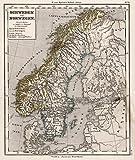 1872 School Atlas | 27. Schweden und Norwegen. (Sweden and Norway.) | Antique Vintage Map Reprint