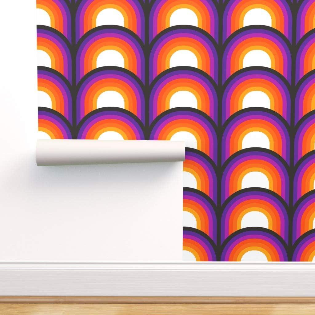 Spoonflower Peel and Stick Removable Wallpaper, Retro Orange Red Purple Black Decor Mod 70S Seventies Op Art Midcentury Modern Stripes Print, Self-Adhesive Wallpaper 24in x 36in Roll