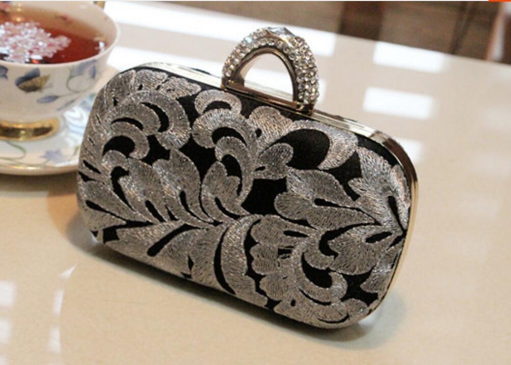 XYXM ladies evening bag/handmade embroidery banquet handbag/dress handbag/bridal  bag/wallet/diagonal package, printed black silver: Amazon.co.uk: Sports &  ...