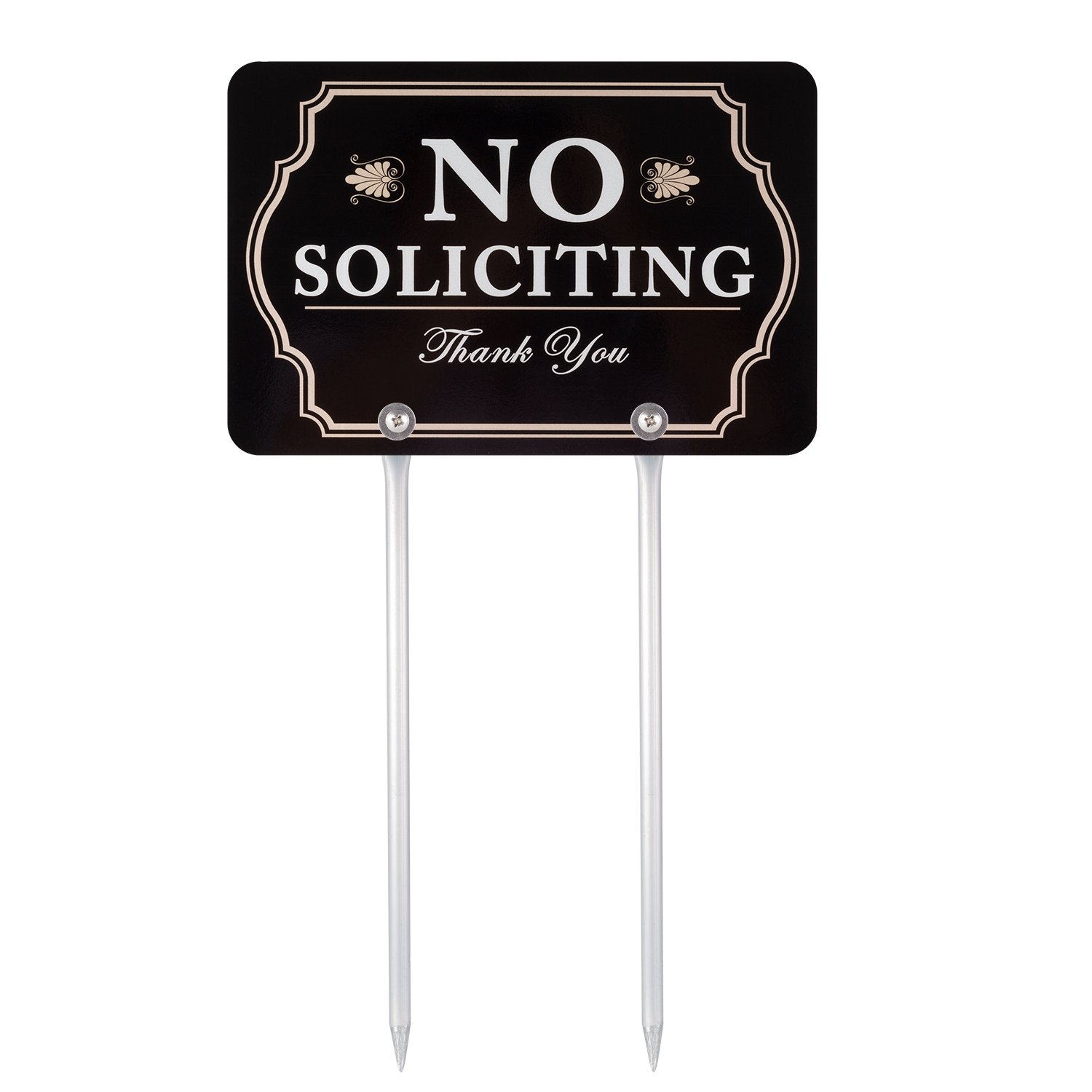 Kichwit No Soliciting Sign for Yard, Aluminum, All Metal Construction, Sign Measures 11.8'' x 7.9'', 14'' Long Metal Stakes Included
