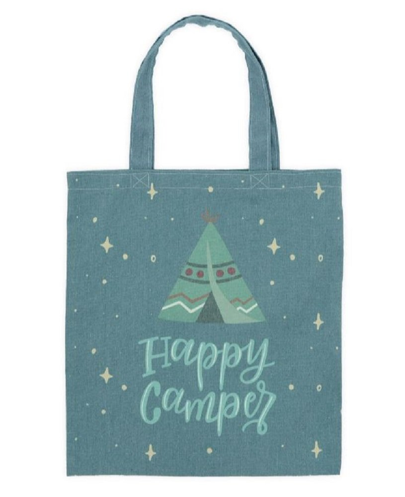 Happy Camper Green Canvas Tote Bag, 16 3/4'' Tall X 15'' Wide.
