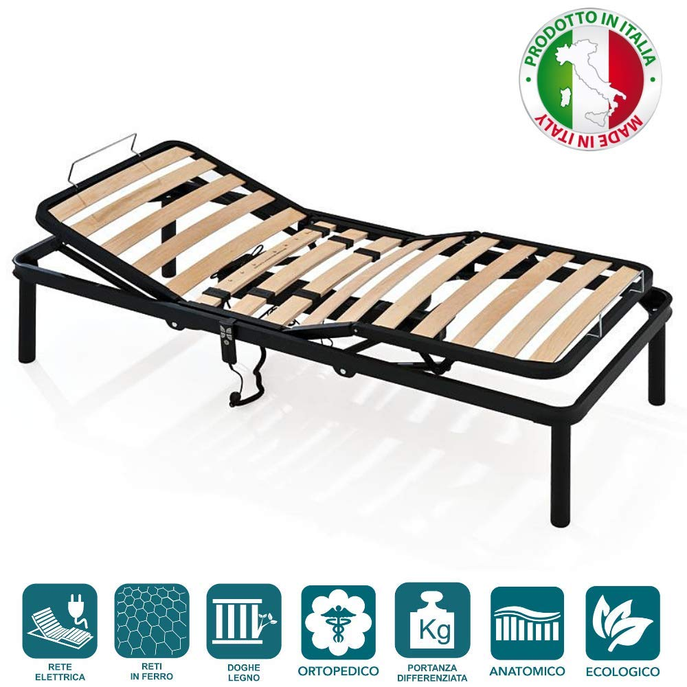 Electric Bed Base Euro Small Single (80 x 200 cm) EVERGREENWEB - Double Bed Base 4'6  x 6'3  size 135x190 cm APPLE with strong Iron Frame and Beech Wood Slats, Orthopedic, Slatted Bed Frame FULLY ASSEMBLED + 4 Legs for all Beds Mattresses and Pillows