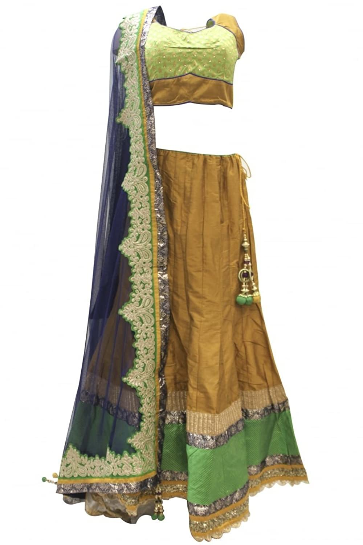 DCC2378 Dark Goldenrod and Dark Navy Blue Traditional Chaniya Choli Indian Bollywood Lengha Choli