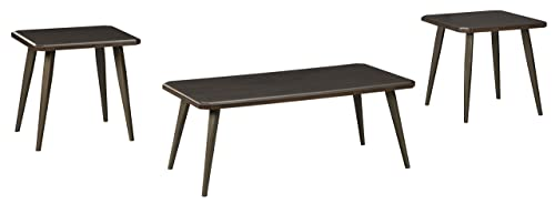 Signature Design by Ashley – Fazani Contemporary 3-Piece Table Set – Includes Cocktail Table Two End Tables, Dark Brown