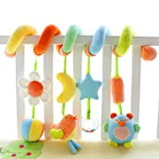 SHILOH Kid Activity Spiral Wrap Around Crib Bed Bassinet Stroller Rail Toy Developmental Plush Soft Toys, Garden