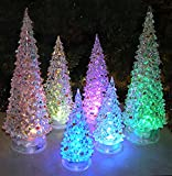 Christmas Tree LED - Set of 6 Acylic Xmas Trees with Painted Colorful Ornaments - Coloring Changing Tabletop Tree Decorations