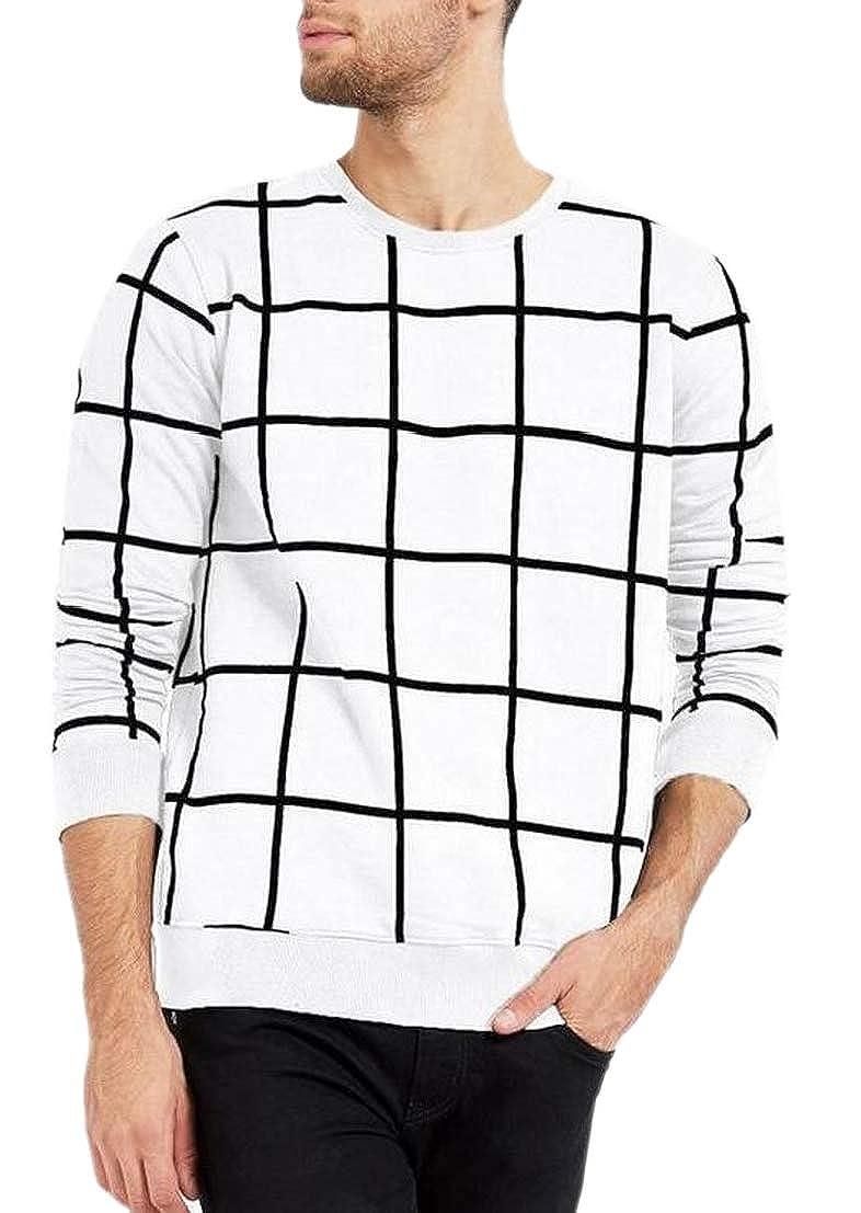 Generic Mens T Shirts Grid Comfort Crew Neck Pullover Top Sweatshirt