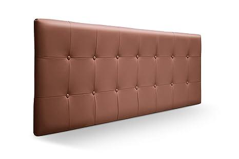 SUENOSZZZ - Cabecero Munich, Estructura de Madera de Pino, tapizado con capitoné Acolchado en Polipiel Color Chocolate. Cabeceros Madera para ...