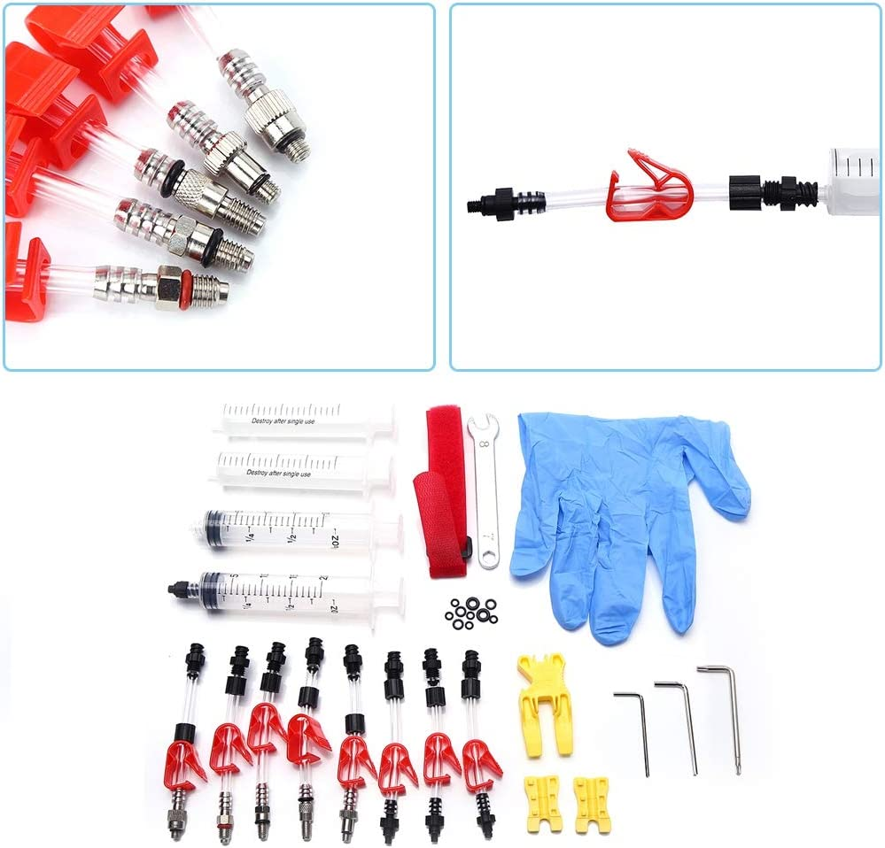 Brake Bleeder Bleeder Kit Professional Bicycle Hydraulic Bleed Kit Disc Brake Mineral Oil Bleed Kit Tools with Syringes Wrenchs Gloves 8 x Hoses Set for Almost All Hydraulic Brake System