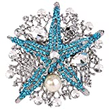 EVER FAITH Starfish Bride Cream Simulated Pearl Hair Comb Blue Austrian Crystal Silver-Tone