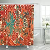 TOMPOP Shower Curtain Colorful Indonesia the Beautiful of Malaysian and Indonesian Batik Pattern Java Malaysia Waterproof Polyester Fabric 72 x 72 inches Set with Hooks