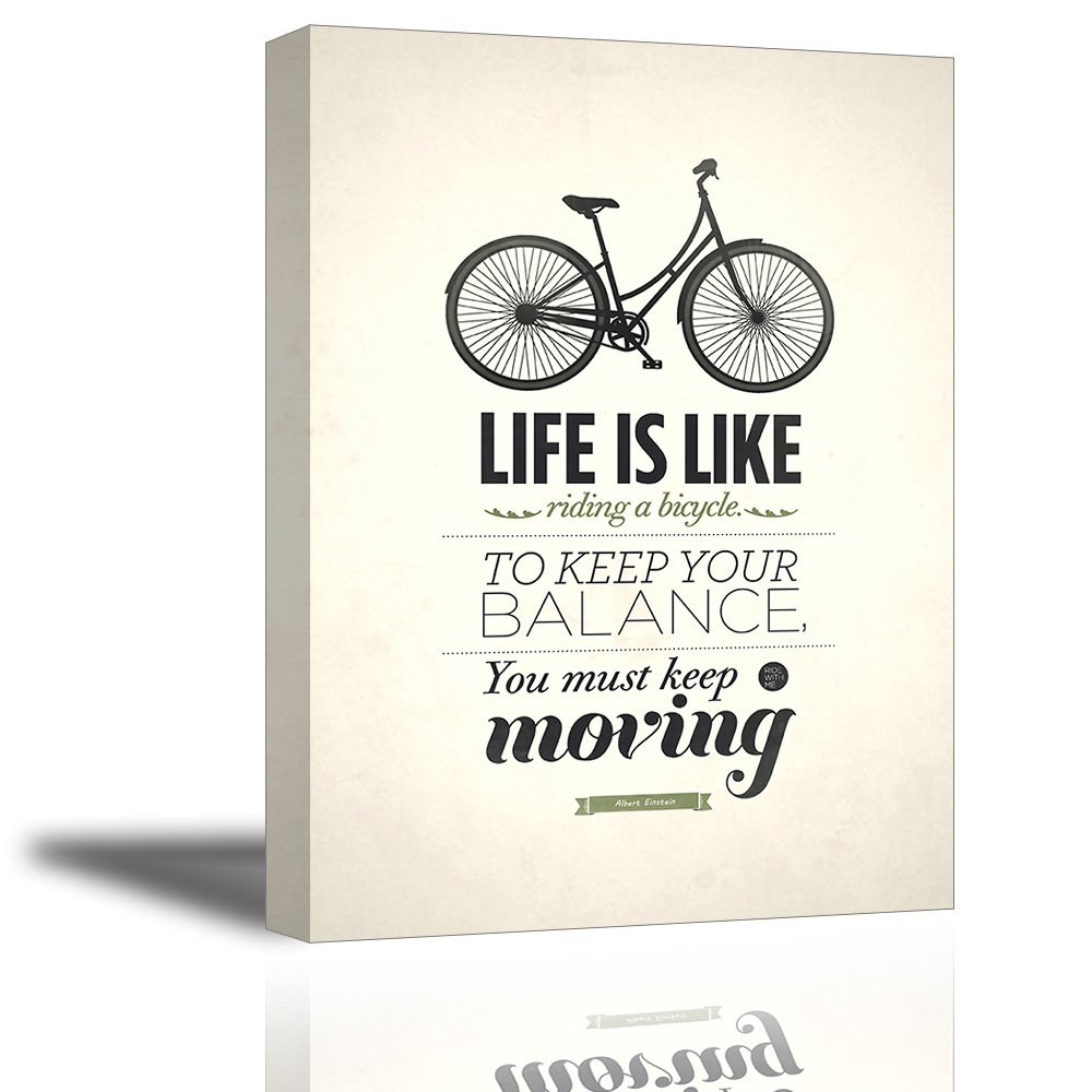 Quotes wall art decor well known saying aphorism life is like riding a bicycle to keep your balance you must keep moving by albert einstein